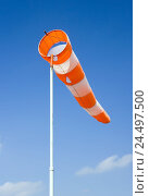 Купить «Windsock, blowing, sky, blue, measurement, display, wind direction, wind speed, wind, warning, anemometer, weather, concept, windy, stormy, weather changes...», фото № 24497500, снято 14 ноября 2018 г. (c) mauritius images / Фотобанк Лори