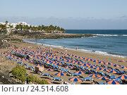 Купить «Spain, Canary islands, Lanzarote, Puerto del Carmen, the Atlantic, beach, Playa grandee, sunshades,», фото № 24514608, снято 2 февраля 2010 г. (c) mauritius images / Фотобанк Лори