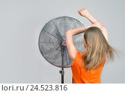 Купить «State fan, woman, young, cooling, back view, 20-30 years, blond, long-haired, stand, cool fan, refresh, wind, cooling, ventilation, draught, enjoy, détente...», фото № 24523816, снято 19 сентября 2018 г. (c) mauritius images / Фотобанк Лори