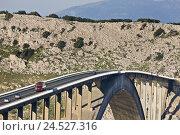 Купить «Croatia, Kvarner bay, island Krk, bridge, shade, cars,», фото № 24527316, снято 23 февраля 2009 г. (c) mauritius images / Фотобанк Лори