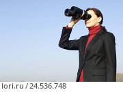 Купить «Businesswoman, view binoculars, half portrait, woman, women's portrait, brunette, business, seriously, success, future, observation, controlling, view, copy space,», фото № 24536748, снято 27 мая 2008 г. (c) mauritius images / Фотобанк Лори