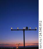 Купить «Airport, runway light, silhouette, evening, land help, marking, runway, lights, lighting, emitter, lamps, guidance, trip, traffic, air traffic, headlight...», фото № 24540812, снято 17 июля 2018 г. (c) mauritius images / Фотобанк Лори