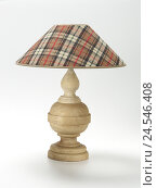 Купить «Table lamp, wooden foot, checked lampshade,», фото № 24546408, снято 17 декабря 2017 г. (c) mauritius images / Фотобанк Лори