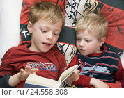 Купить «Boys, two, bed, lie, read out book, portrait, person, children, childhood, infant, siblings, brothers, attention, story, children's book, excitingly, together, fairy tales, listen in, listen, snugly,», фото № 24558308, снято 16 июля 2008 г. (c) mauritius images / Фотобанк Лори