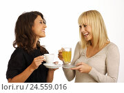 Купить «Women, two, entertainment, smile, drink coffee, tea, friendly, cogs, brunette, blond, curls, happy, interior shot, young, long-haired, people, blouse,...», фото № 24559016, снято 31 января 2011 г. (c) mauritius images / Фотобанк Лори