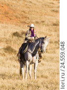 Купить «Cowgirl in the saddle of her Quarter Horse, USA, Wyoming, Shell,», фото № 24559048, снято 16 августа 2018 г. (c) mauritius images / Фотобанк Лори