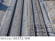 Купить «Railroad, rails, tracks, parallel,», фото № 24572164, снято 23 октября 2018 г. (c) mauritius images / Фотобанк Лори