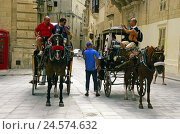 Купить «Island Malta, Mdina, horse's carriages, tourists, no model release, destination, building, structure, Old Town, city centre, architecture, Middle Ages...», фото № 24574632, снято 17 октября 2008 г. (c) mauritius images / Фотобанк Лори