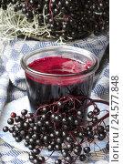 Купить «elderberry jelly,», фото № 24577848, снято 18 октября 2018 г. (c) mauritius images / Фотобанк Лори