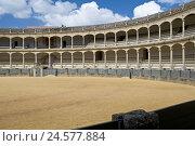 Купить «Spain, province Malaga, Andalusia, Ronda, bullfight arena, inside,», фото № 24577884, снято 15 сентября 2009 г. (c) mauritius images / Фотобанк Лори