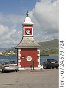 Купить «Ireland, Munster, Kerry, Iveragh Peninsula, Valencia Iceland, Knights Town, clock tower, destination, place of interest, tower, clock, cars, parking lot, park, red, shore, sea, cloudies,», фото № 24579724, снято 8 мая 2008 г. (c) mauritius images / Фотобанк Лори