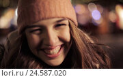 Купить «happy young woman in winter hat at christmas», видеоролик № 24587020, снято 8 декабря 2016 г. (c) Syda Productions / Фотобанк Лори