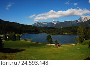 Купить «Germany, Upper Bavaria, Mittenwald, loud lake, Bavaria, Werdenfels, mountains, lake, mountain lake, bath lake, deserted, rest, silence, Idyll, destination...», фото № 24593148, снято 12 декабря 2007 г. (c) mauritius images / Фотобанк Лори