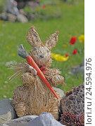 Купить «Decoration, Easter bunny from phloem with carrot,», фото № 24594976, снято 15 апреля 2011 г. (c) mauritius images / Фотобанк Лори