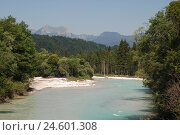 Купить «Germany, Upper Bavaria, Mittenwald, the Isar, wood, Bavaria, Werdenfels, mountain landscape, mountains, river, Estergebirge, nature, habitat, deserted, Idyll,», фото № 24601308, снято 12 декабря 2007 г. (c) mauritius images / Фотобанк Лори