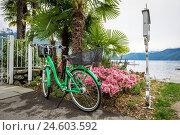 Купить «Switzerland, Canton Ticino, Ascona, bicycle», фото № 24603592, снято 1 мая 2016 г. (c) age Fotostock / Фотобанк Лори