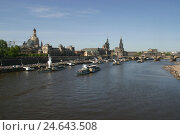 Купить «Germany, Saxony, Dresden, town view, Old Town, the Elbe, excursion boats, Elbufer, buildings, structures, churches, court church, residence lock, househusband...», фото № 24643508, снято 14 ноября 2007 г. (c) mauritius images / Фотобанк Лори