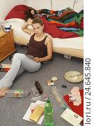 Купить «Teenagers girl, room, sit, boredom,», фото № 24645840, снято 15 ноября 2010 г. (c) mauritius images / Фотобанк Лори