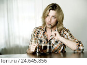 Купить «Man, young, view camera, mouth, spoons, tea glass, portrait, person, blond, long-haired, 3-days beard, unshaven, table, sit, consider, think, brood, peppermint...», фото № 24645856, снято 18 декабря 2007 г. (c) mauritius images / Фотобанк Лори