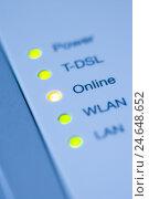 Купить «DSL Router, lamps LED, online, close up,», фото № 24648652, снято 18 июля 2018 г. (c) mauritius images / Фотобанк Лори