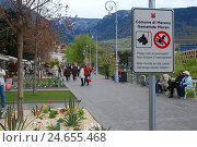 Купить «Italy, South Tyrol, Merano, Passerpromenade, sign, in two languages, town, promenade, way, sidewalk, footpath, pass caller, bank promenade, person, tourist...», фото № 24655468, снято 23 января 2009 г. (c) mauritius images / Фотобанк Лори