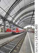 Купить «Germany, Saxony, Dresden, central station, trains, platform hall,», фото № 24656480, снято 22 августа 2018 г. (c) mauritius images / Фотобанк Лори