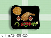 Купить «Stilllife, Food, chicken's thigh with vegetables and bread roll, food, eat, plate, disk, arranged, appetizing, top view, gastronomically, tomato, chilli...», фото № 24658020, снято 13 июля 2012 г. (c) mauritius images / Фотобанк Лори