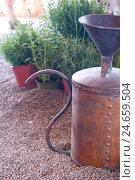 Купить «Distillation device as a garden decoration,», фото № 24659504, снято 20 сентября 2018 г. (c) mauritius images / Фотобанк Лори