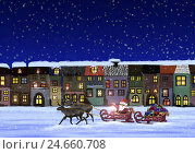 Купить «Illustration, houses, Santa Claus, reindeer sleigh, Christmas presents, snowing, go evening, subscription, painting, Christmas, for Christmas, wintry,...», фото № 24660708, снято 21 июля 2018 г. (c) mauritius images / Фотобанк Лори