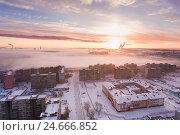 Купить «Восход солнца над городом Калининград», фото № 24666852, снято 4 декабря 2016 г. (c) Константин Тронин / Фотобанк Лори