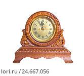 Купить «Часы в резном деревянном корпусе на белом фоне», фото № 24667056, снято 5 ноября 2011 г. (c) Дудакова / Фотобанк Лори