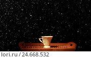 Heart of coffee cups. Стоковое видео, видеограф Сергей Семенович Мальков / Фотобанк Лори