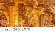 Купить «View of New York Manhattan during sunset hours», фото № 24669976, снято 20 декабря 2013 г. (c) Elnur / Фотобанк Лори