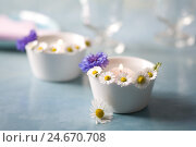 Купить «Small white bowls with floating candles and daisies,», фото № 24670708, снято 20 августа 2018 г. (c) mauritius images / Фотобанк Лори