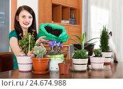 Happy girl transplanting potted flowers. Стоковое фото, фотограф Яков Филимонов / Фотобанк Лори