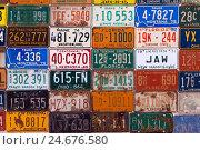 Купить «USA, Arizona, Route 66, collection of license plates,», фото № 24676580, снято 16 июля 2019 г. (c) mauritius images / Фотобанк Лори