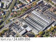 Купить «Germany, Thuringia, Meiningen, factory building, trains, aerial picture,», фото № 24689056, снято 27 апреля 2018 г. (c) mauritius images / Фотобанк Лори