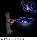 Купить «3d-человек управляет дронами с фотокамерой на черном фоне», иллюстрация № 24690600 (c) Guru3d / Фотобанк Лори