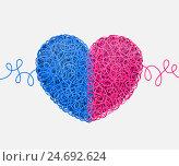 Сердце, свитое из переплетённых голубых и розовых нитей. Стоковая иллюстрация, иллюстратор elena_a / Фотобанк Лори
