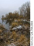 Первый снег на Енисее. Стоковое фото, фотограф Сергей Зоммер / Фотобанк Лори