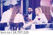 Купить «middle class people enjoying food in cafe and talking», фото № 24707220, снято 27 мая 2019 г. (c) Яков Филимонов / Фотобанк Лори