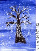 Детский рисунок гуашью. Заснеженное дерево в вечернее время. Стоковая иллюстрация, иллюстратор Юлия Франтова / Фотобанк Лори