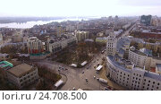 Купить «Aerial shot of russian city - Voronezh. The urban landscape. Russia. 4K», видеоролик № 24708500, снято 13 декабря 2016 г. (c) ActionStore / Фотобанк Лори