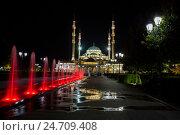 Грозный. Центральная мечеть Сердце Чечни имени Ахмата Кадырова на фоне фонтана (2016 год). Редакционное фото, фотограф Литвяк Игорь / Фотобанк Лори