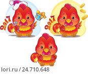 Купить «Милый символ 2017 года по китайскому гороскопу - огненный петух», иллюстрация № 24710648 (c) Савицкая Татьяна / Фотобанк Лори
