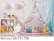 Купить «children room with play tent», фото № 24711756, снято 2 декабря 2016 г. (c) Константин Юганов / Фотобанк Лори