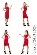 Купить «Young woman in red dress isolated on white», фото № 24715524, снято 1 декабря 2013 г. (c) Elnur / Фотобанк Лори