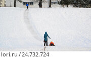 Купить «Moscow, Russia - December 19.2016. Children slide down on ice slide, and mom watching», видеоролик № 24732724, снято 16 декабря 2016 г. (c) Володина Ольга / Фотобанк Лори