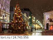 Купить «Рождественская ель в Камергерском переулке, Москва, Россия», фото № 24743956, снято 21 декабря 2016 г. (c) Наталья Волкова / Фотобанк Лори