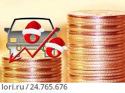 Купить «Автомобиль и красный знак процента на фоне денег», фото № 24765676, снято 12 февраля 2016 г. (c) Сергеев Валерий / Фотобанк Лори